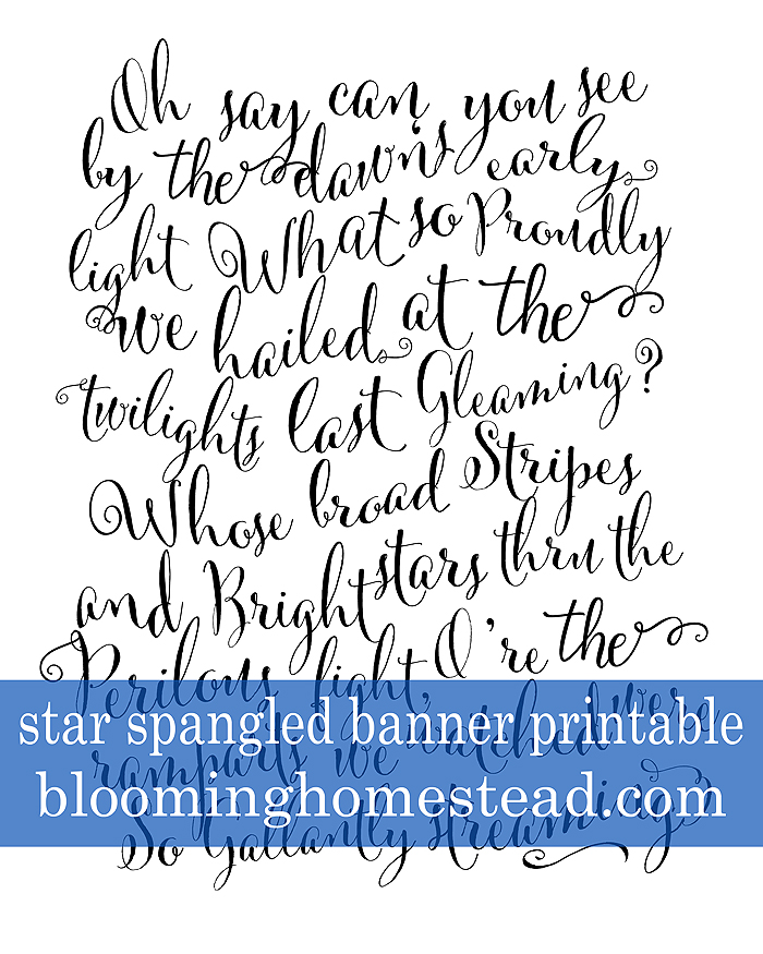 graphic relating to Words to the Star Spangled Banner Printable titled Star Spangled Banner Typography Printable - Blooming Homestead