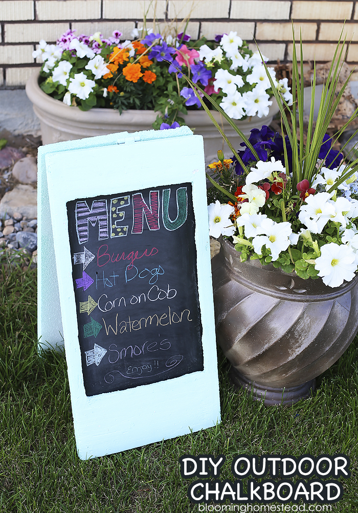 Beautiful DIY Chalkboard on a budget. Simple to make and customize, perfect for outdoor decor or weddings!