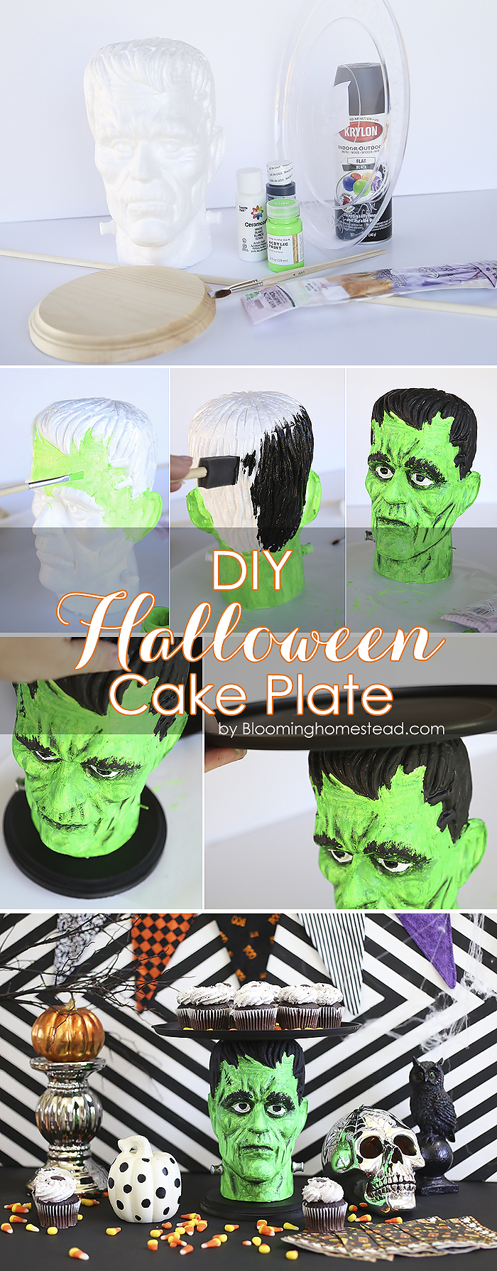 This fun Halloween Cake Plate or platter was made using foam heads available at the craft store! Super easy and fun way to serve goodies at a Halloween party or event.