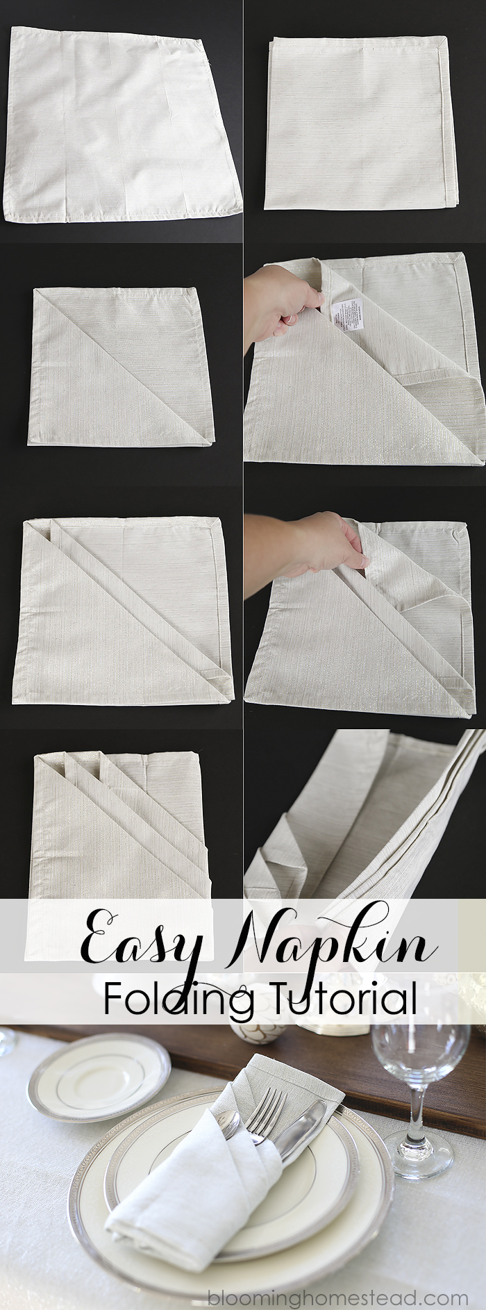How To Fold Cloth Napkins Blooming Homestead