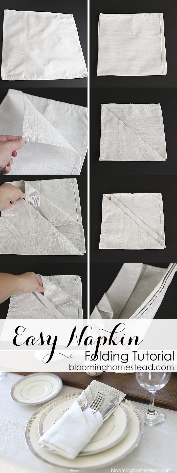 The simple and elegant way to fold cloth napkins couldn't be easier! Step by step tutorial to fold napkins easily for any event.