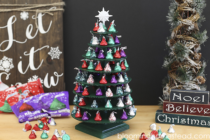 """Service """"KISS""""MAS tree using Hershey kisses. A new fun tradition teaching kids about service during the holidays. Click to learn more!"""