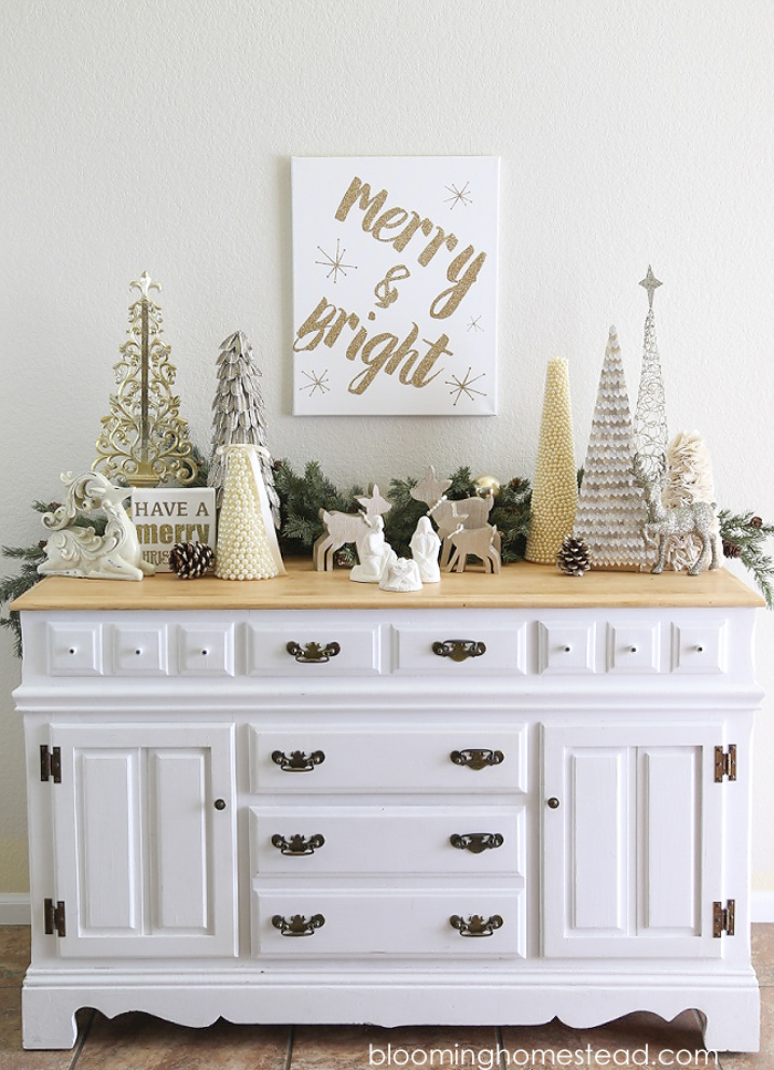 Merry and Bright Christmas Vignette by Blooming Homestead Blog