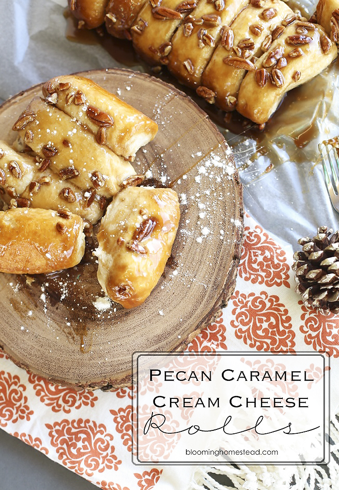 Pecan Caramel Rolls that make a perfect breakfast pastry or yummy dessert. Delicious sweet rolls that can be made in under 30 minutes using pillsbury biscuits.