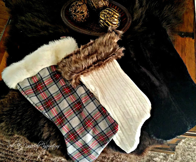 fur sweater and plaid stockings