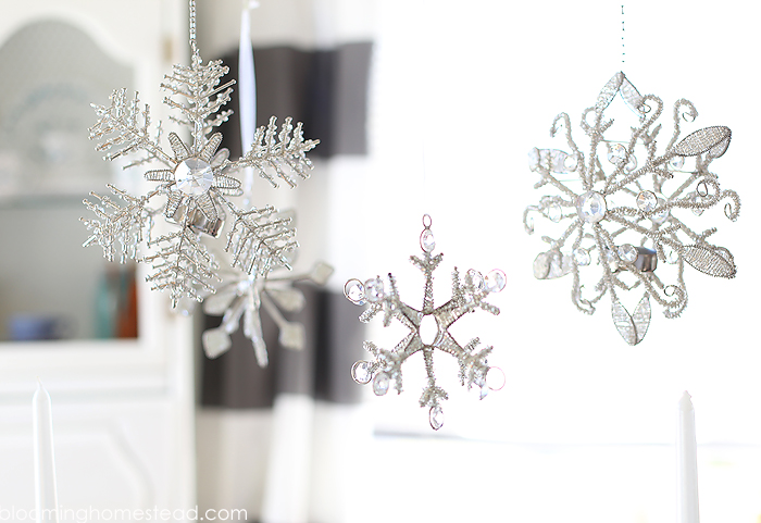 Lovely hanging snowflakes winter decor.