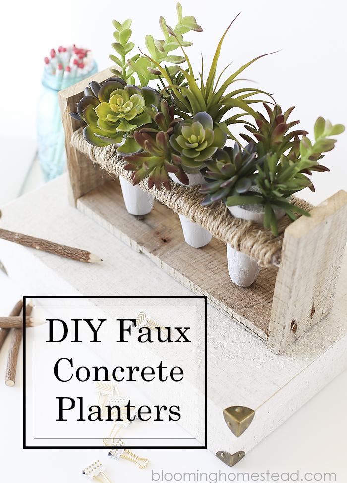 DIY Faux Concrete Succulent Centerpiece