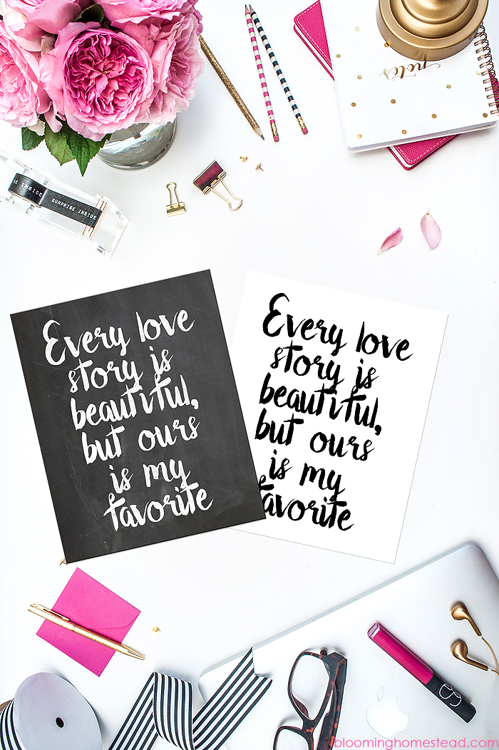 Free Love printables in two styles available for free download plus tons of other freebies!