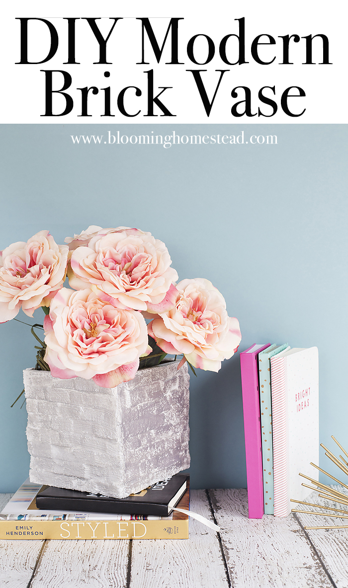 Diy modern brick vase blooming homestead easy diy modern brick vase made out of foam blocks and paper mache super easy reviewsmspy