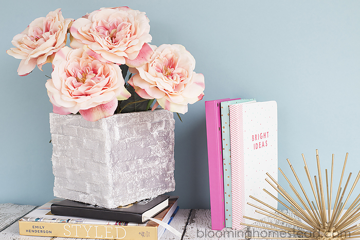 Easy DIY Modern brick vase made out of foam blocks and paper mache! Super easy and adorable craft and lovely home decor.