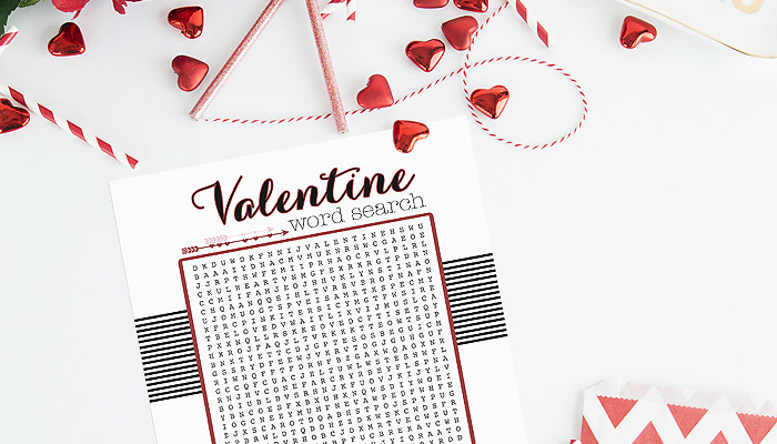 Fun printable valentine word search, perfect for class parties!