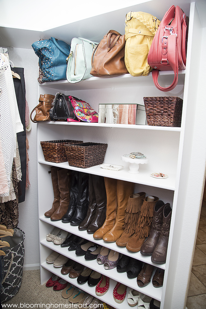 Awesome shoe, boot, and accessory organizing for master closet organization.