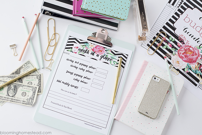 Month at a glance budget printable, part of a free budget binder printable set at Blooming Homestead