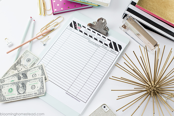 Free printable savings ledger available as part of a complete budget binder printable set