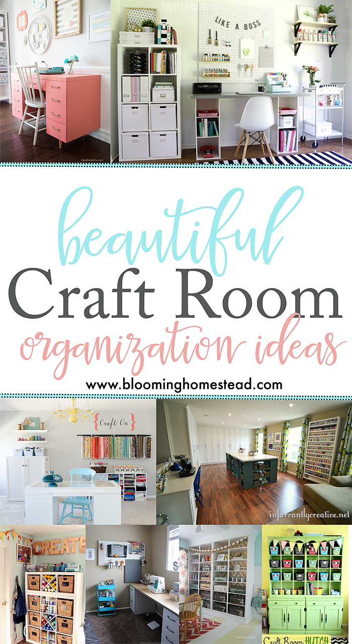 Craft Room Inspiration ideas for creating beautiful, organized craft rooms. Beautiful Craft Room Organization ideas.