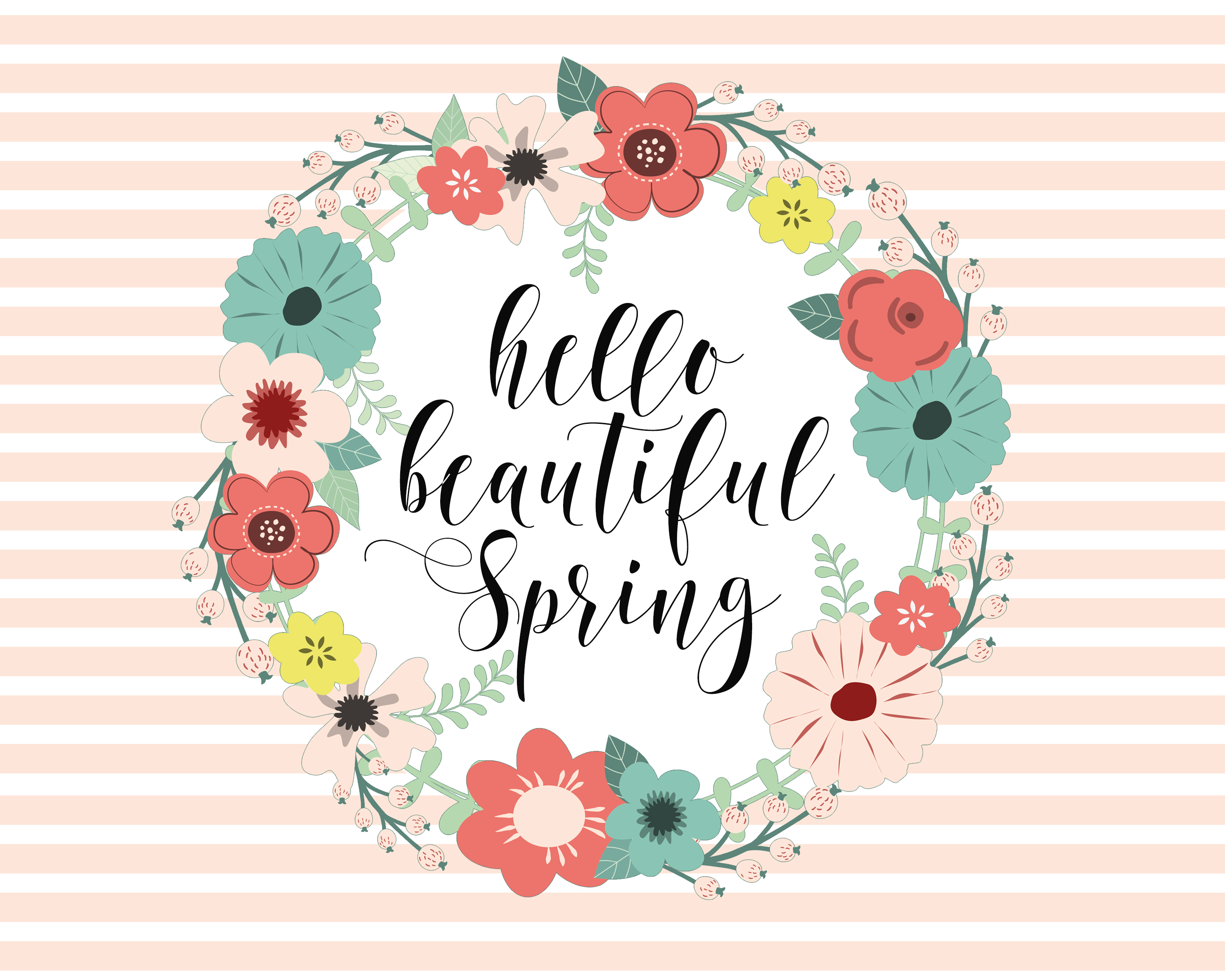 Hello Beautiful Spring Printable by Blooming Homestead