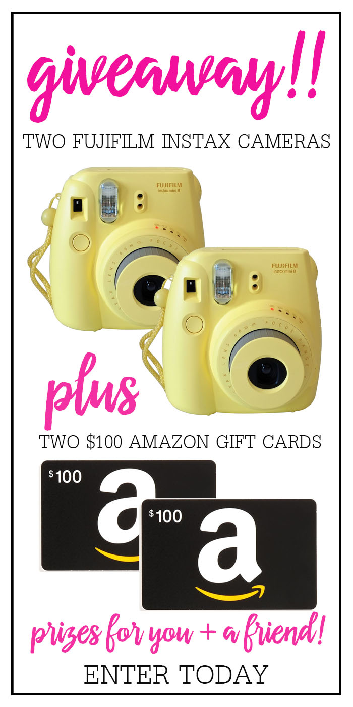 Instax Cameras and Amazon gift cards Giveaway!