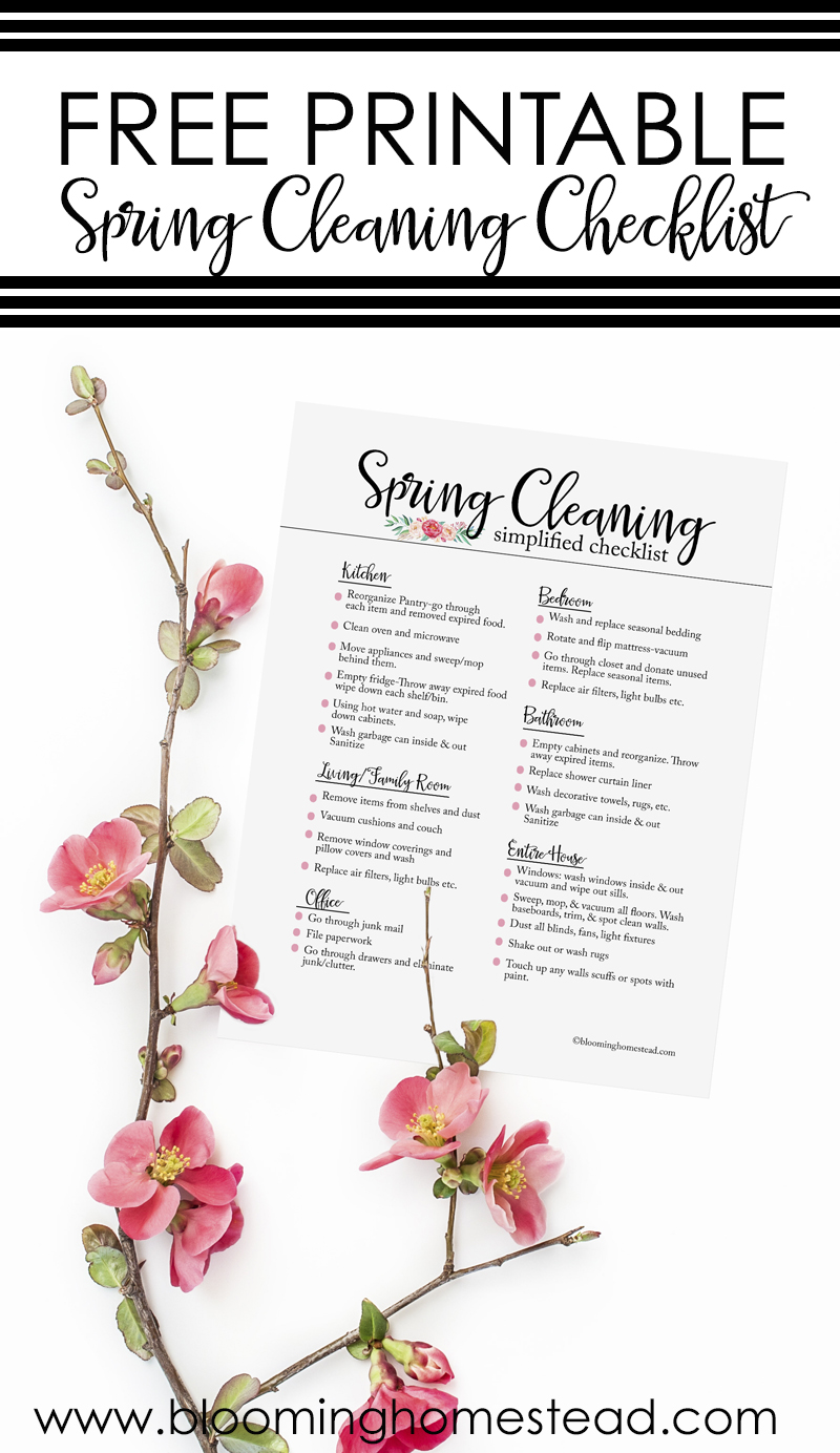 This Free printable Spring Cleaning Checklist will help you get your house ready for the new season in no time