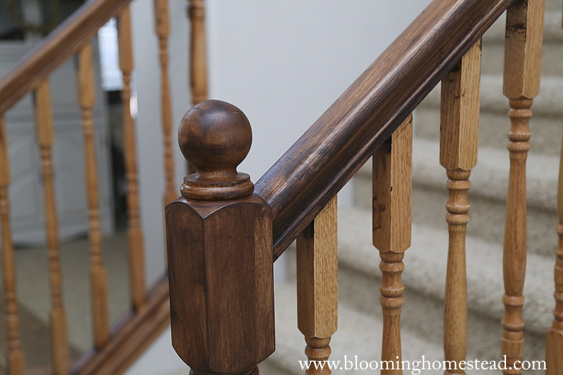 Banister after 1 coat of stain copy