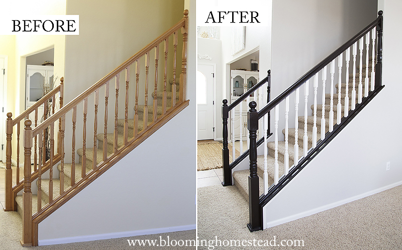 Wonderful DIY Stair Railing Makeover - Blooming Homestead VC37