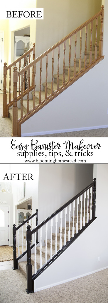 You won't believe this gorgeous stair railing makeover! And you can do it too!