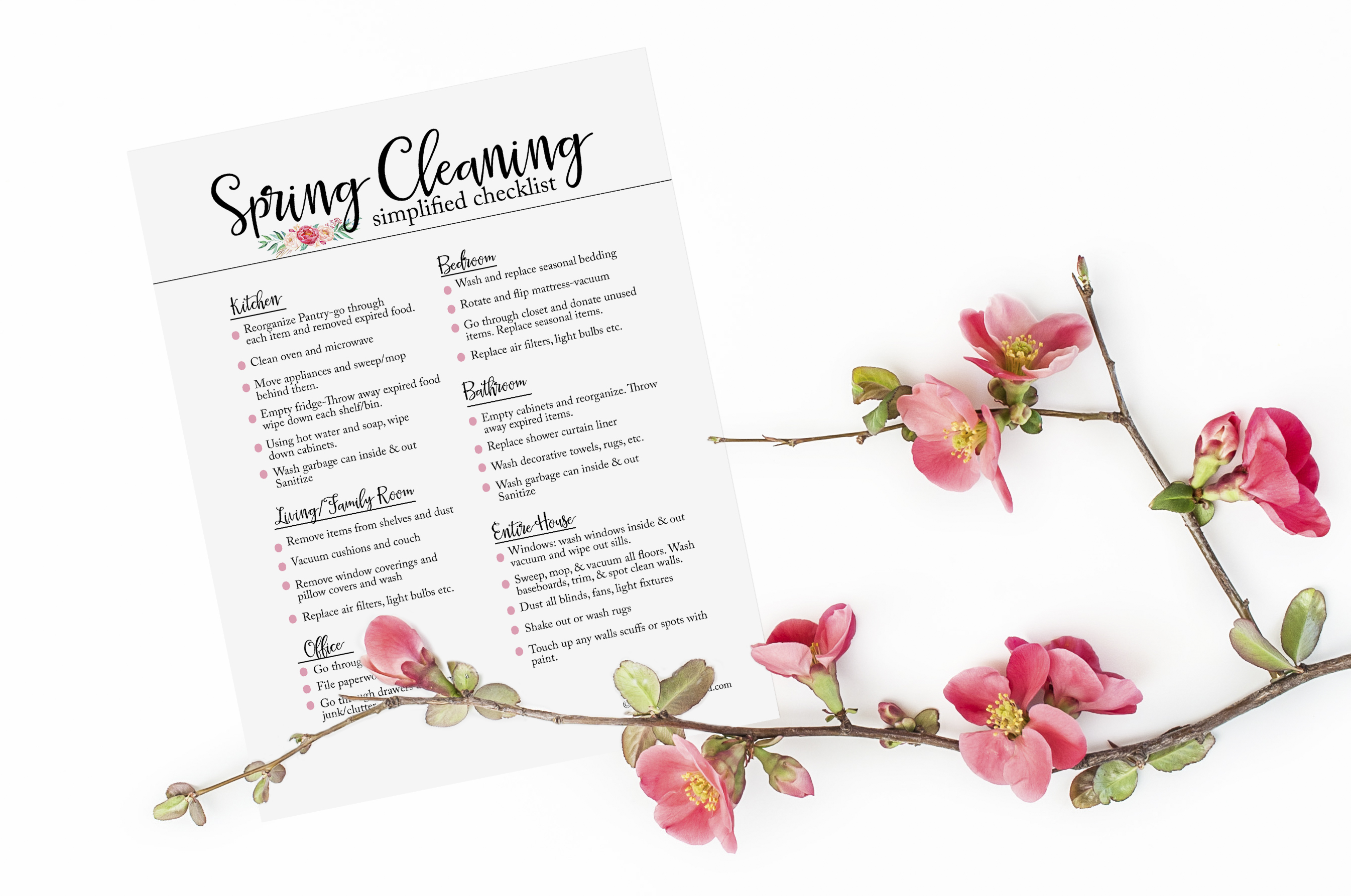 Spring cleaning checklist by Blooming Homestead