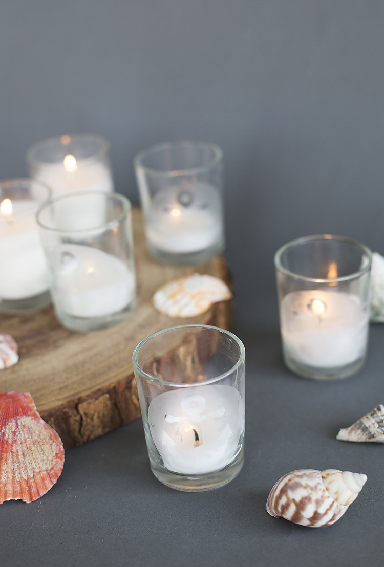 DIY Nautical Etched Votives