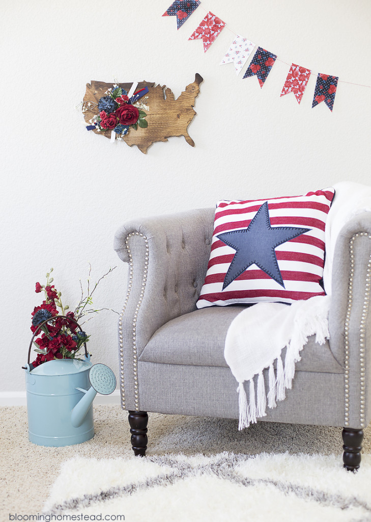 Download this free floral patriotic printable banner. It will make a perfect addition to your patriotic decor!