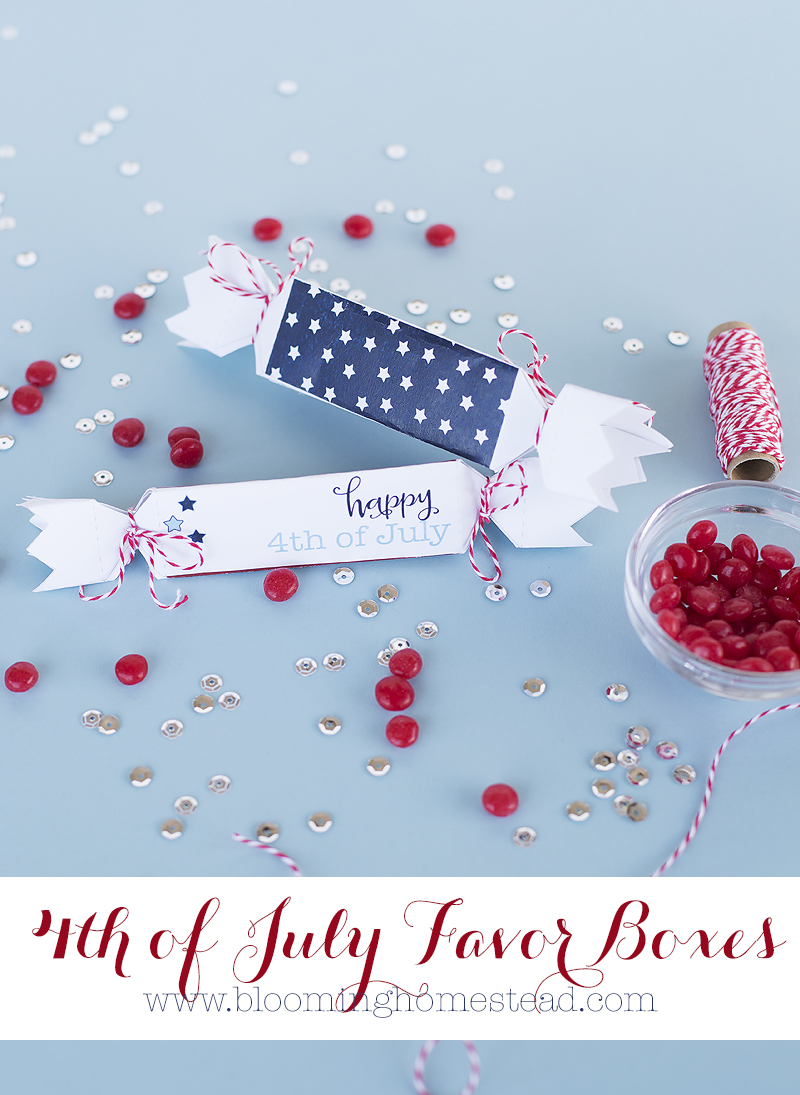 Love these adorable free printable 4th of July Favor Boxes.