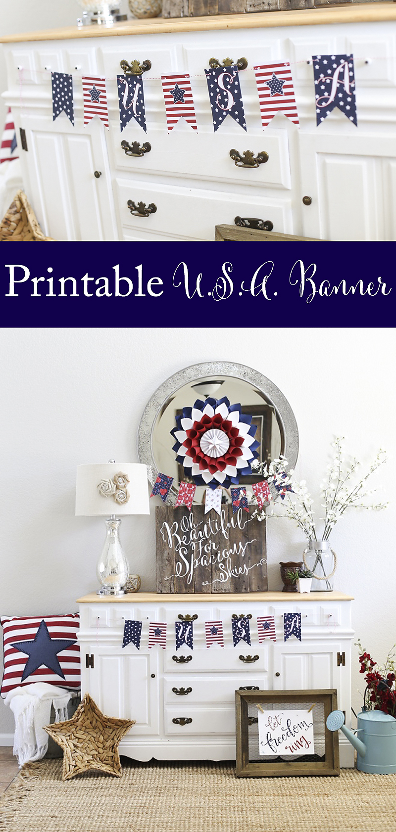 Printable USA Banner and tons of fun free printables and projects!