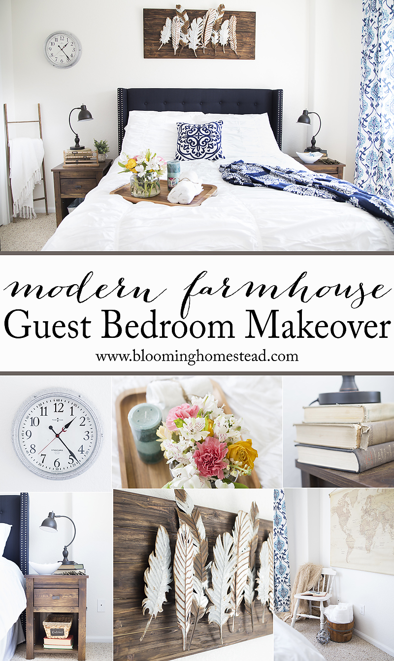 Learn how to recreate this beautiful modern farmhouse bedroom. You won't believe this guest room makeover in lovely shades of blue.