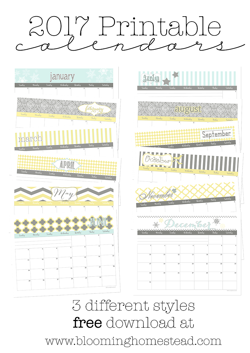 2017 printable calendars in 3 lovely styles for