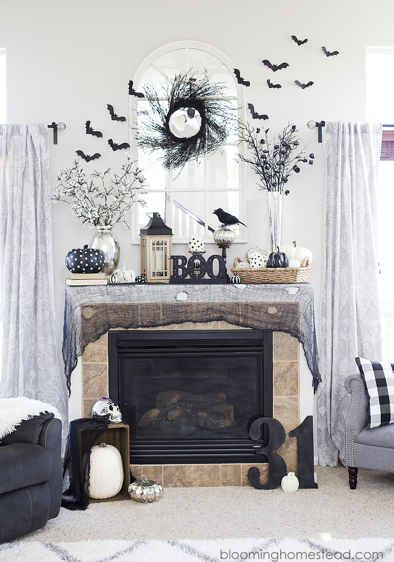 beautiful black and white halloween home tour with tons of beautiful and elegant halloween decor ideas - Halloween Home Ideas