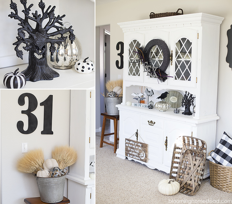 Beautiful black and white Halloween Home Tour with tons of beautiful and elegant halloween decor ideas