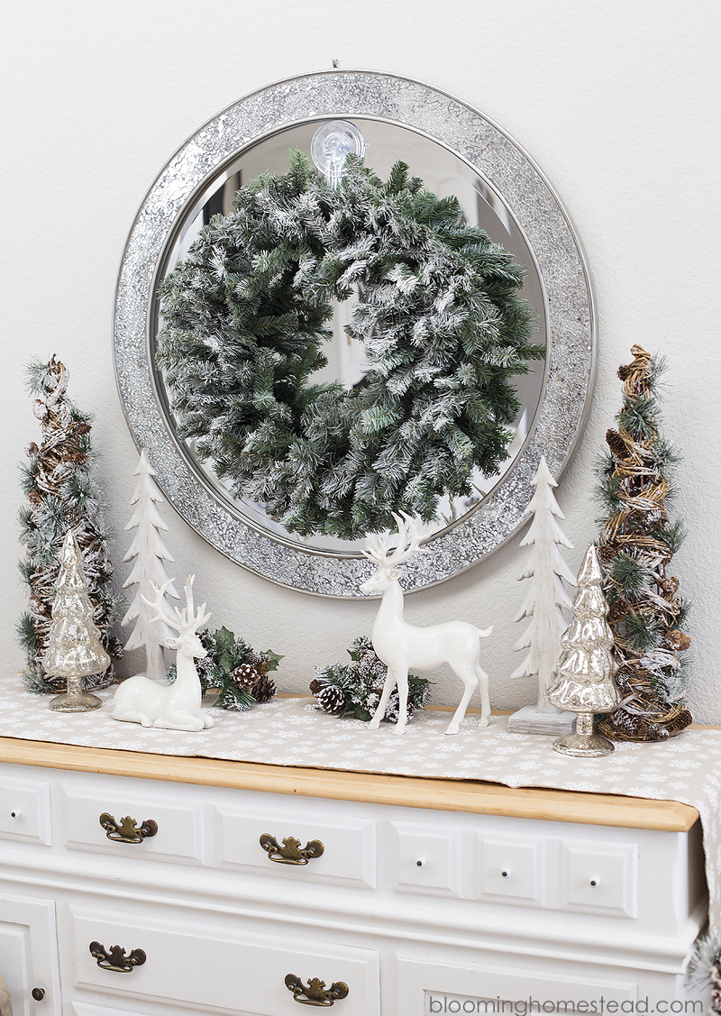 Creating a beautifully styled entryway for the holidays has never been easier! Stop by and see how I created this look for under $100. Christmas Vignette and Winter Woodland Home Decor.