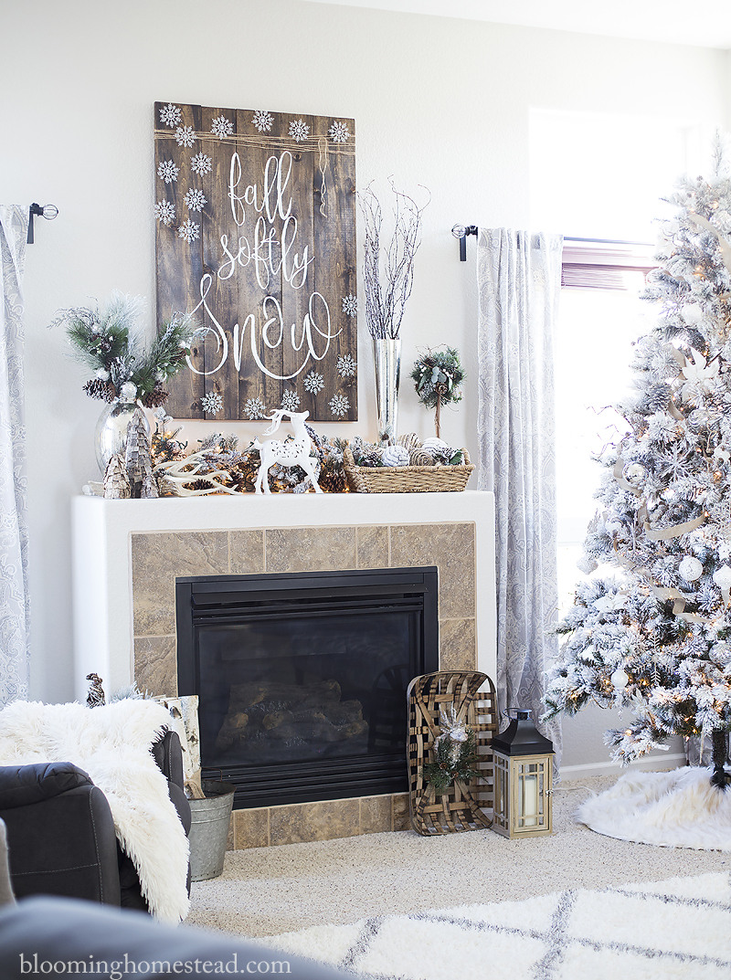 Beautiful holiday mantle display with diy fall softly snow sign with full tutorial