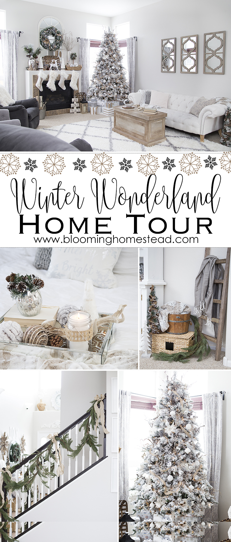 Rustic Christmas Home Tour featuring farmhouse style winter wonderland holiday Christmas Decor.