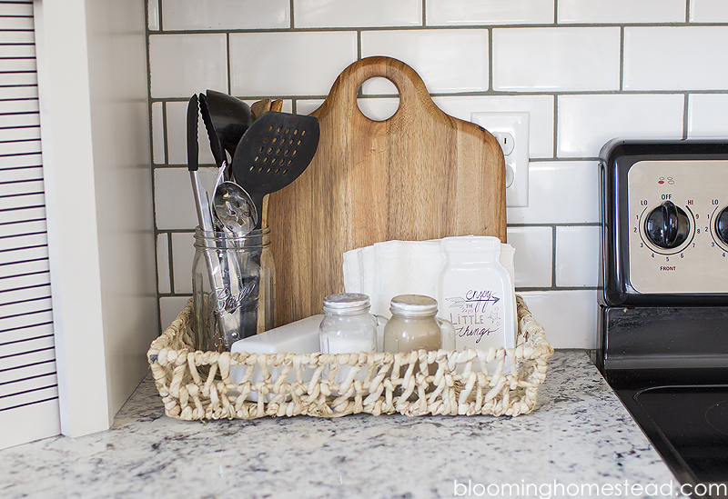 Kitchen Countertop Organization by Blooming Homestead