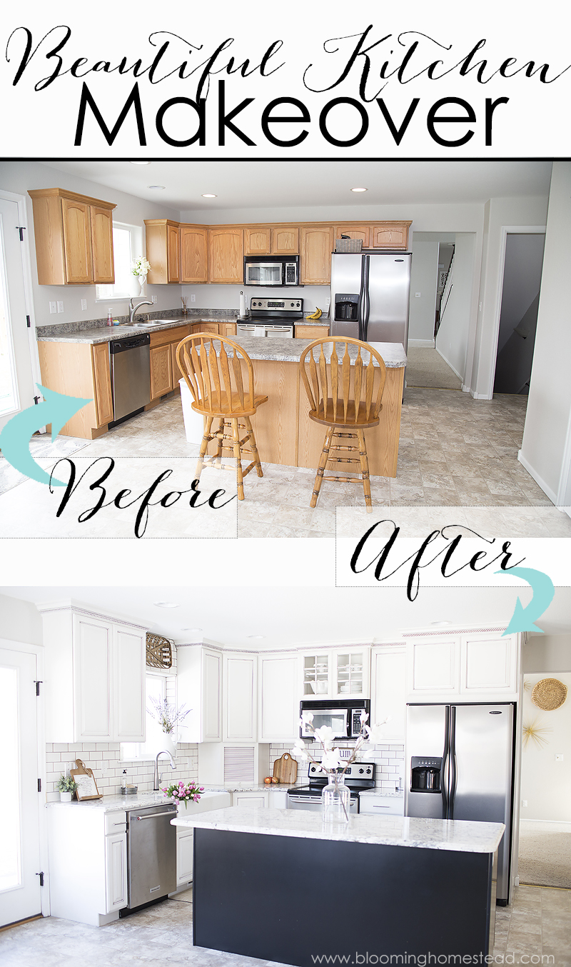 Beautiful Farmhouse Style Kitchen Makeover at Blooming Homestead. Check out the before photos!