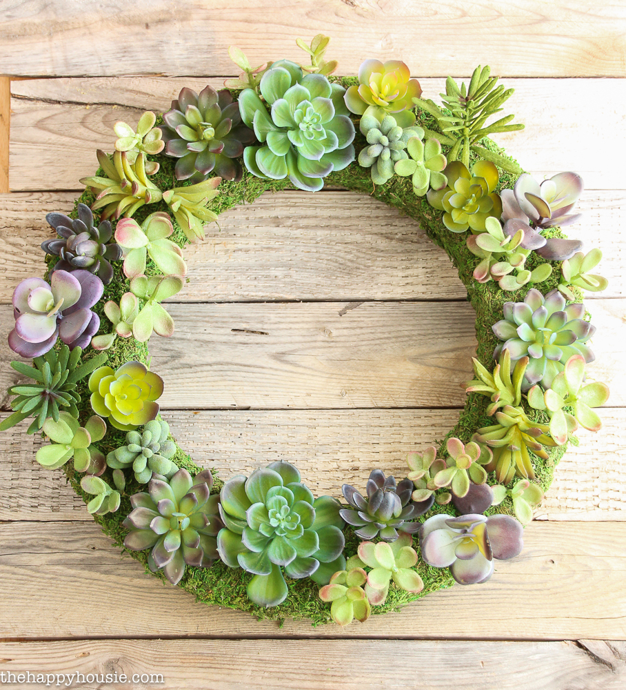 Pottery-Barn-Knock-Off-Faux-Succulent-Wreath-using-Make-it-Fun-Foam-Wreath-form.-14