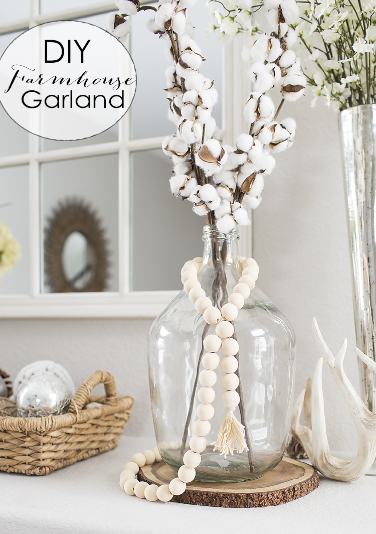DIY Farmhouse Wooden BeadTassel Garland
