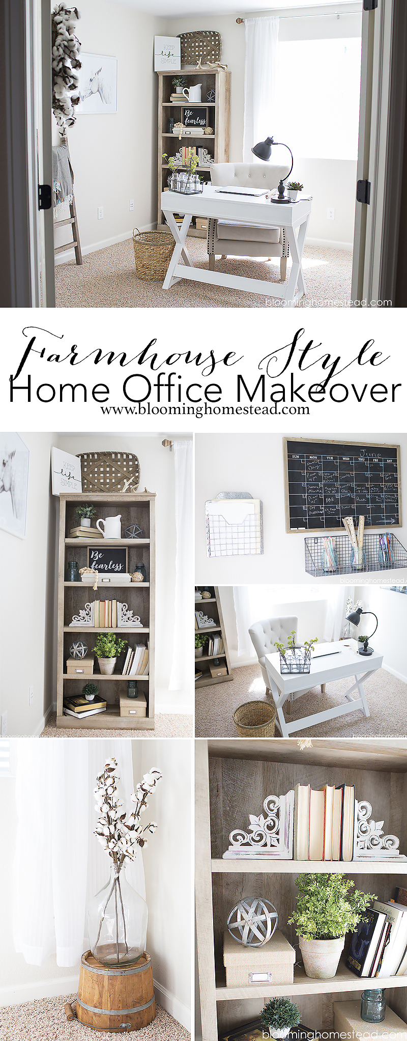 Create a farmhouse style home office using simple supplies from Walmart!
