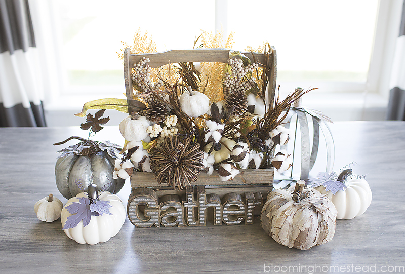 Beautiful and Simple DIY Centerpiece using fall supplies from hobby lobby.
