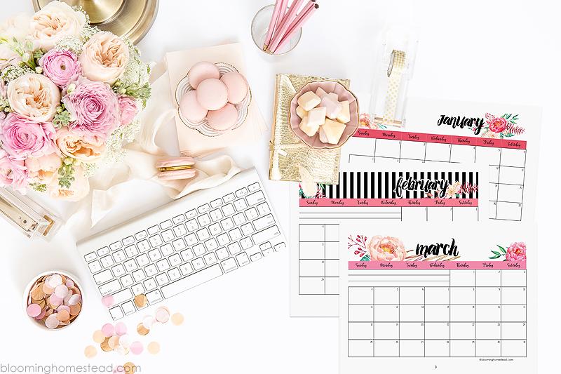 2018 Calendar Floral Horizontal Printable