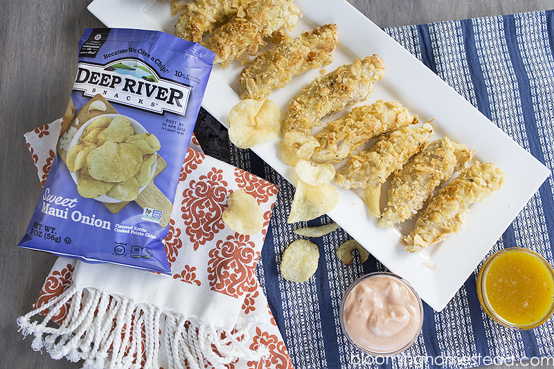 Delicious Oven baked chicken tenders breaded in your favorite kettle chips! Super crunchy and delicious!