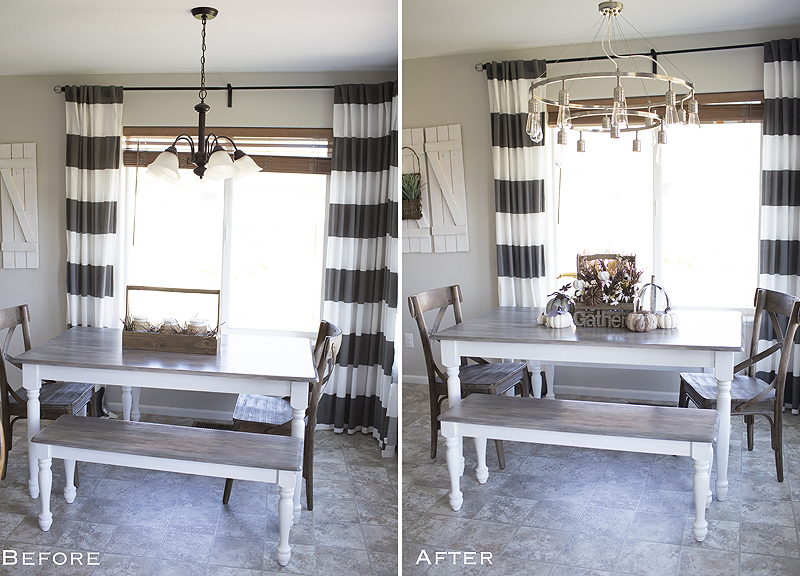 Before and After light fixture