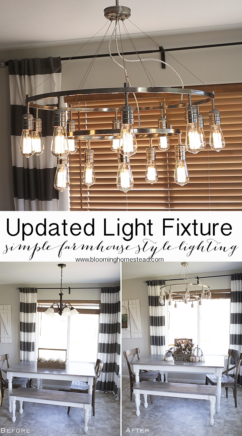 Update your kitchen easily by adding in a new light fixture.