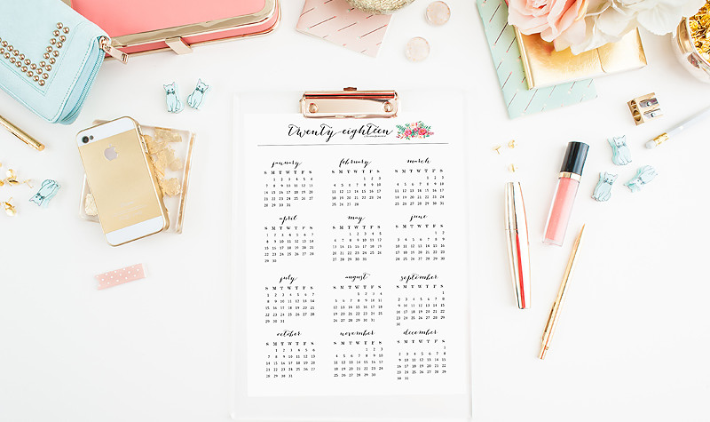 2018 Calendar printables available in many styles at www.bloominghomestead.com