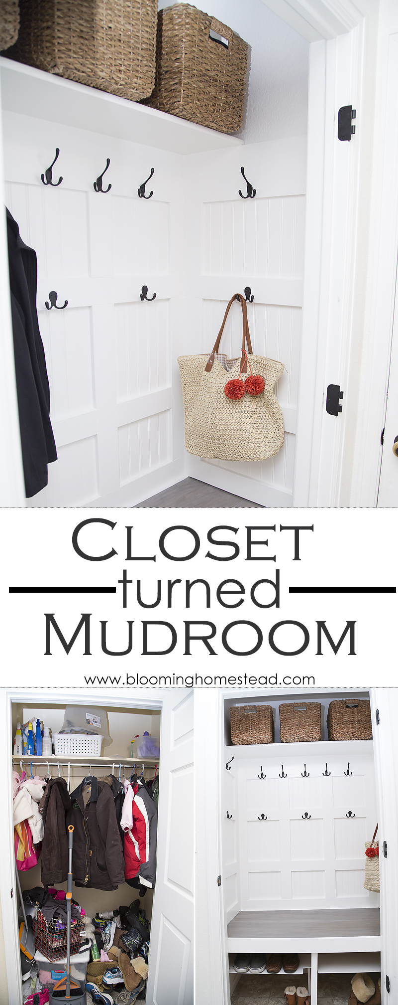 Cluttered closet turns into beautiful and functional mudroom with this fun diy project