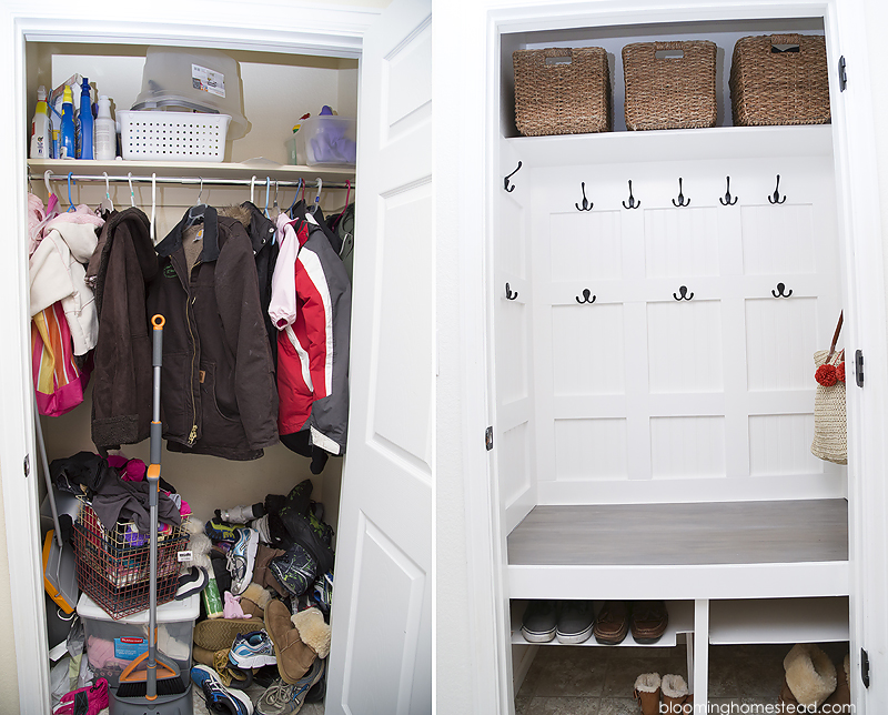 DIY Laundry closet turned into mudroom makeover | Get full details on www.bloominghomestead.com